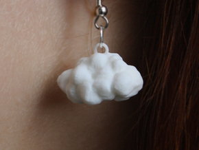Cloud Earring in White Processed Versatile Plastic