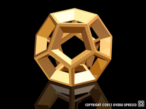 Dodecahedron - Pendant in Polished Gold Steel