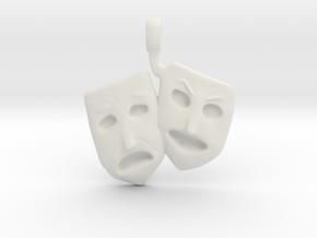 Theatre Faces Pendant in White Natural Versatile Plastic
