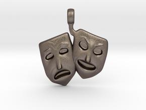 Theatre Faces Pendant in Polished Bronzed Silver Steel