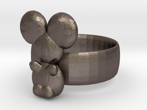Koala ring in Polished Bronzed Silver Steel