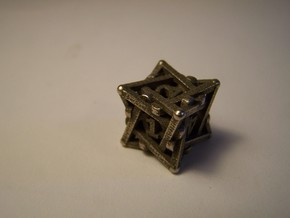 Spiral D6 Dice in Polished Bronzed Silver Steel