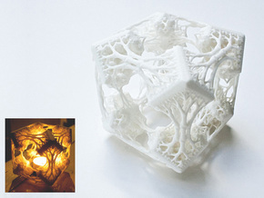 Cubic Woods - Fractal Sculpture & Light Cave in White Strong & Flexible Polished