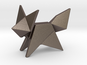 Origami Fox in Polished Bronzed Silver Steel