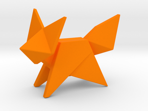 Origami Fox in Orange Processed Versatile Plastic