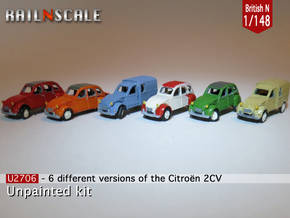 SET 6x Citroën 2CV (British N 1:148) in Smooth Fine Detail Plastic