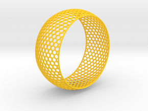 Vertical Honey Comb Rounded Bracelet in Yellow Processed Versatile Plastic