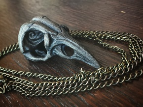 Bird Skull Pendant  in Polished Grey Steel