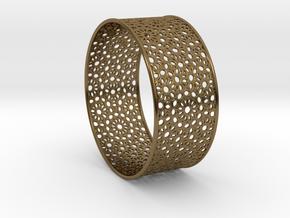 7cm Bracelet Flower Pattern Flat in Polished Bronze