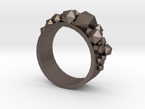 Shard Ring in Polished Bronzed Silver Steel