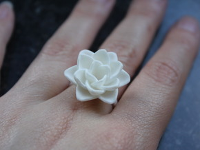 Rose Ring 17.3mm in White Strong & Flexible Polished
