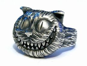 Cheshire Cat Ring in Natural Silver