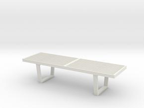 1:24 Nelson Bench in White Natural Versatile Plastic
