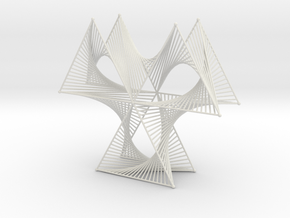 Wired Three Petals Straight Line Curves  in White Natural Versatile Plastic