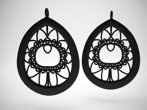 Peacock Feather Lace Earrings in Black Strong & Flexible