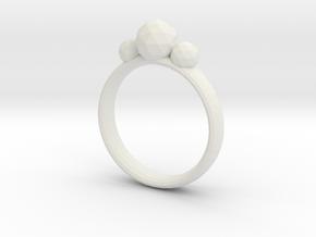 GeoJewel Ring UK Size O US Size 7 in White Natural Versatile Plastic