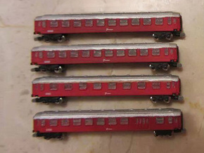 DSB Intercity train T gauge 1:450 (Cars only) in Smooth Fine Detail Plastic