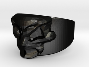 Skull Ring Size 7 in Matte Black Steel