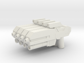 Custom scifi assault rifle x4 for Lego minifigs in White Natural Versatile Plastic