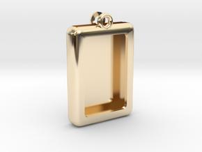Rectangular Frame Pendant in 14K Yellow Gold