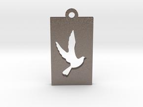 Rectangular Frame Pendant Dove Insert in Polished Bronzed Silver Steel