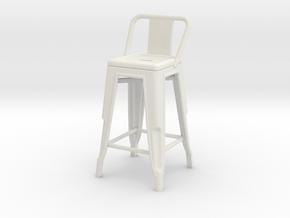 1:24 Pauchard Stool, Low Back in White Natural Versatile Plastic