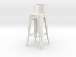 1:24 Tall Pauchard Stool, with Low Back in White Strong & Flexible