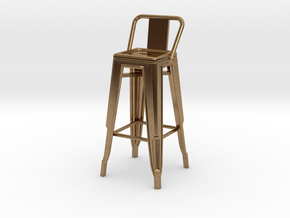 1:24 Tall Pauchard Stool, with Low Back in Natural Brass