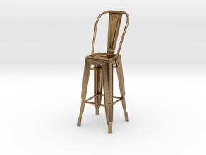 1:24 Tall Pauchard Stool, with High Back in Natural Brass