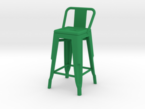 1:12 Pauchard Stool, with Short Back in Green Processed Versatile Plastic