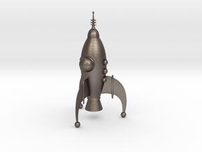 Rocket Ship in Polished Bronzed Silver Steel