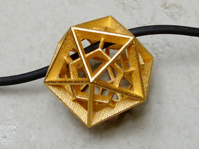Polyhedral Sculpture #26 - Pendant in Polished Gold Steel