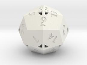 Pseudo-icositetrahedron - d24 - Hollow in White Natural Versatile Plastic