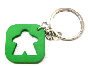 Meeple Keychain Silhouette, Board Game Keyring in Green Strong & Flexible Polished