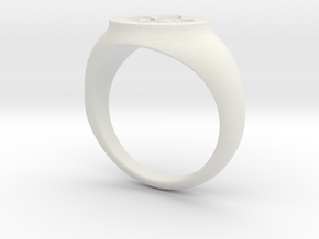 Signet Ring - Fleur De Lis in White Natural Versatile Plastic
