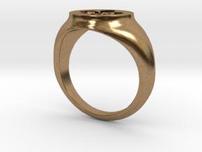 Signet Ring - Fleur De Lis in Natural Brass