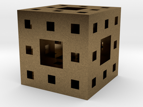 Menger Sponge Pendant in Natural Bronze
