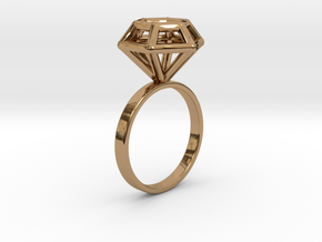 Wireframe Diamond Ring (size 7) in Polished Brass