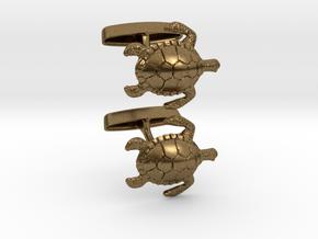 Turtle Cufflinks in Natural Bronze