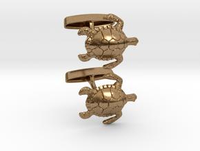 Turtle Cufflinks in Natural Brass