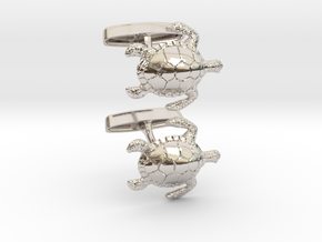 Turtle Cufflinks in Platinum