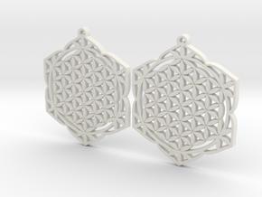 36x2mm Lotus of Life Ear Rings in White Natural Versatile Plastic