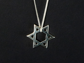 """Star of David"" pendant #Silver in Fine Detail Polished Silver"