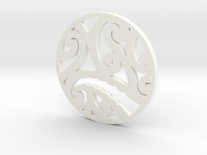 Maori koru tribal pendant design in White Processed Versatile Plastic