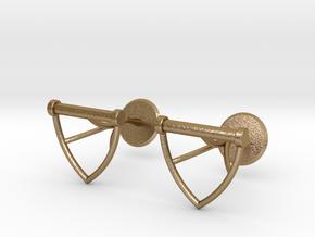 Water Ski Handle Cufflinks in Polished Gold Steel