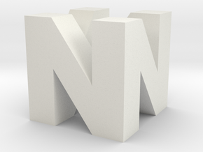 """N64 Logo - 2"""" Cube Desk Object in White Natural Versatile Plastic"""