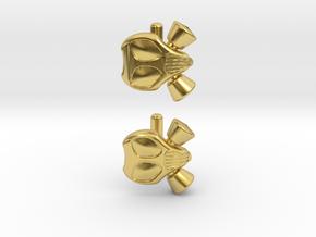 Gasmask Cufflinks in Polished Brass