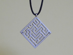Maze Pendant in Polished Bronzed Silver Steel