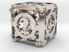Steampunk d6 in Platinum