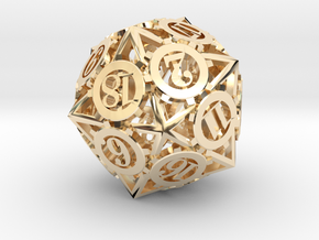 Steampunk Gear d20 in 14K Yellow Gold